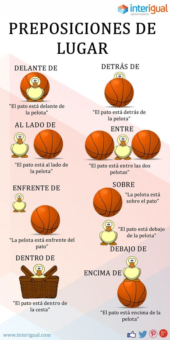 Spanish Prepositions of Place (link goes to the interigual website, but I can't find this graphic on there anywhere) This would be cute with a soccer ball!!