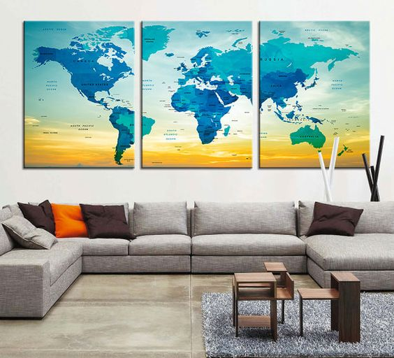 Push Pin Travel Map CANVAS Art PRINT Large by ExtraLargeWallArt – Push Pin Travel World Map