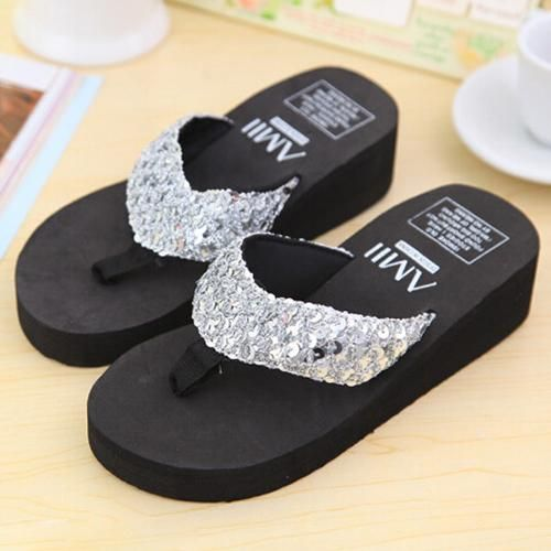 Sliver Summer Sandals Wedge Flip Flops Womens Summer Shoes Women Platform Sandals Women Shoes