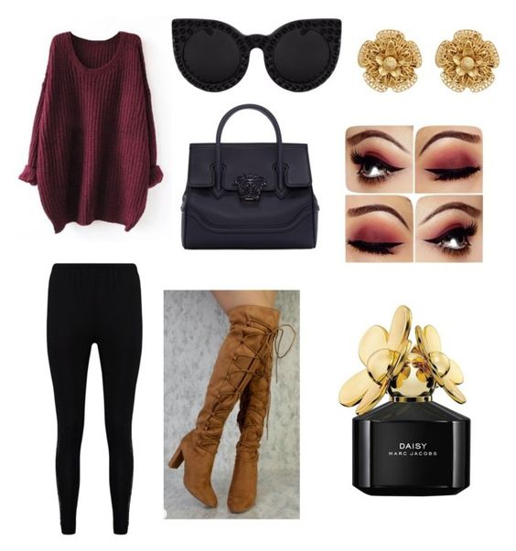"""""""school"""" by vintage6739 on Polyvore featuring Boohoo, Versace, Miriam Haskell and Marc Jacobs"""