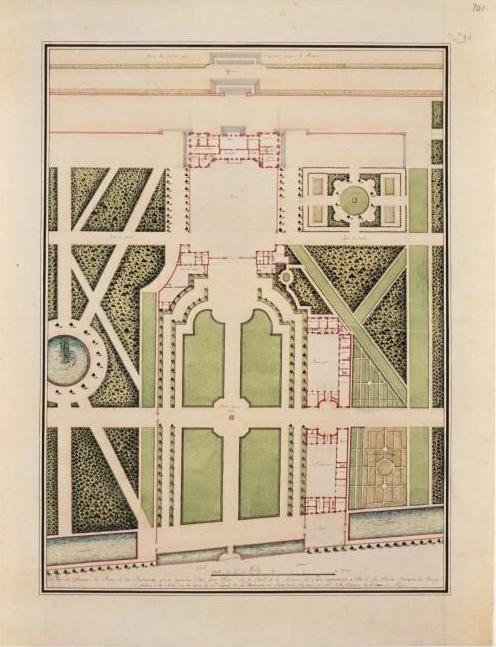 Plan de la cour d'entrée du château de Bercy, cabinet des estampes, BNF (détruits)- Le Nôtre, fin de carrière, il fait encore des projets après avoir cessé de travailler pour  Louis XIV: il envoie par lettre les instructions pour les châteaux de Charlottenburg et Cassel en Allemagne en 1694 et adresse à Guillaume III d'Angleterre des plans pour le chateau de Windsor en 1698. Dyslexique, il compense ce trouble par une extraordinaire vision en 3 dimensions.