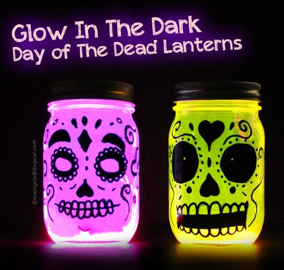 These glow in the dark Day of the Dead mason jar lanterns are very easy to make and you probably have all of the materials at home!