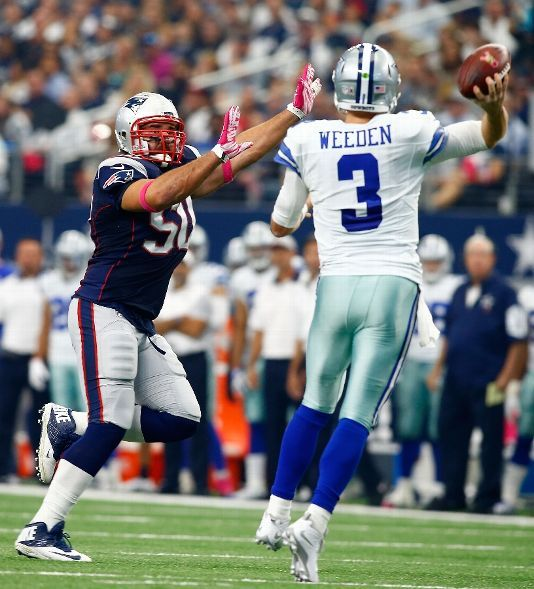 New England Patriots vs. Dallas Cowboys - Photos - October 11, 2015 - ESPN  -     ARLINGTON, TX - OCTOBER 11: Rob Ninkovich #50 of the New England Patriots pressures Brandon Weeden #3 of the Dallas Cowboys during the first half of the NFL game at AT&T Stadium on October 11, 2015 in Arlington, Texas. (Photo by Mike Stone/Getty Images)