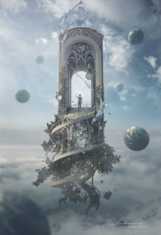 the Gate at the end of the Rootless Stairway | Fantastic Digital Artwork by Jie Ma