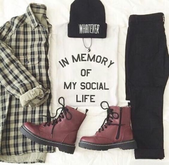 Hipster Outfits — Print Shirt + Black Jeans + franelle + hat +...