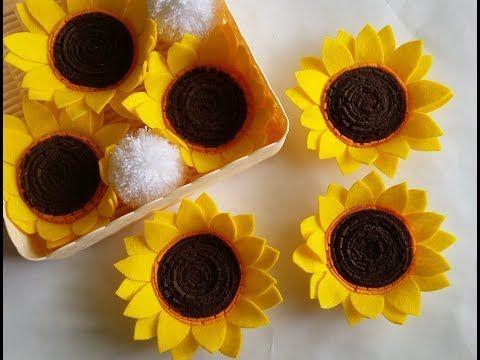 Diy Felt Sunflower Tutorial Cara Membuat Bunga Matahari Dari Flanel Youtube Felt Flowers Diy Felt Flower Tutorial Felt Diy