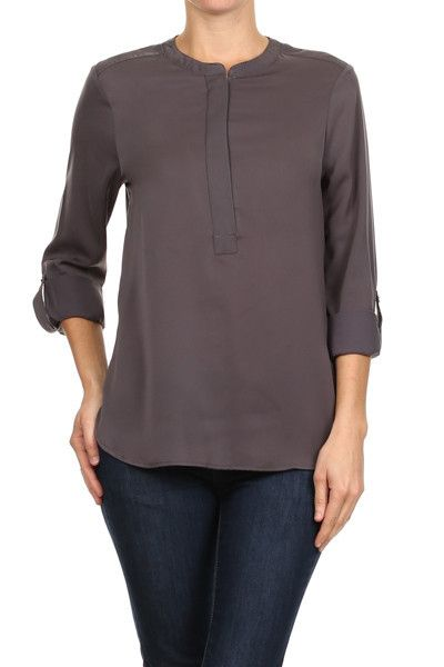 Charcoal Gray Roll Up Zipperd Blouse, This figure flattering blouse can be worn with almost any skirt. It's chic, comfortable, and best of all you don't need to wear a shell underneath! The zippered front give this blouse a flare. The zipper zips all the way up to the neckline allowing for a versatile look.