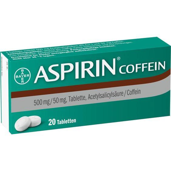 ASPIRIN Coffein Tabletten:   Packungsinhalt: 20 St Tabletten PZN: 05461711 Hersteller: Bayer Vital GmbH Preis: 3,92 EUR inkl. 19 % MwSt.…