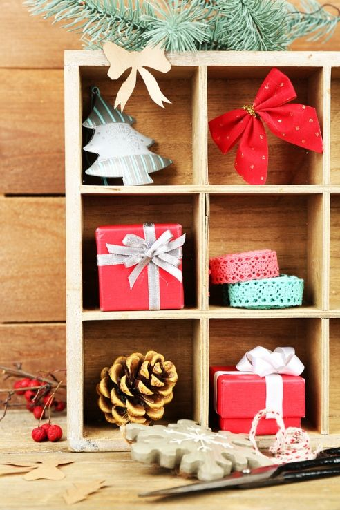 Christmas composition in a wood crate