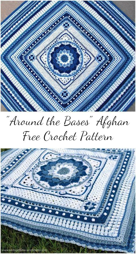 Around the Bases Afghan Free Crochet Pattern #crochet #aroundthebases #afghan #crochetpattern