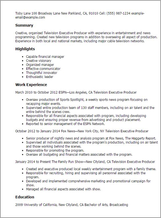 Professional Television Executive Producer Templates To Showcase Your Talent Myperfectresume Resume Assistant Jobs Resume Examples