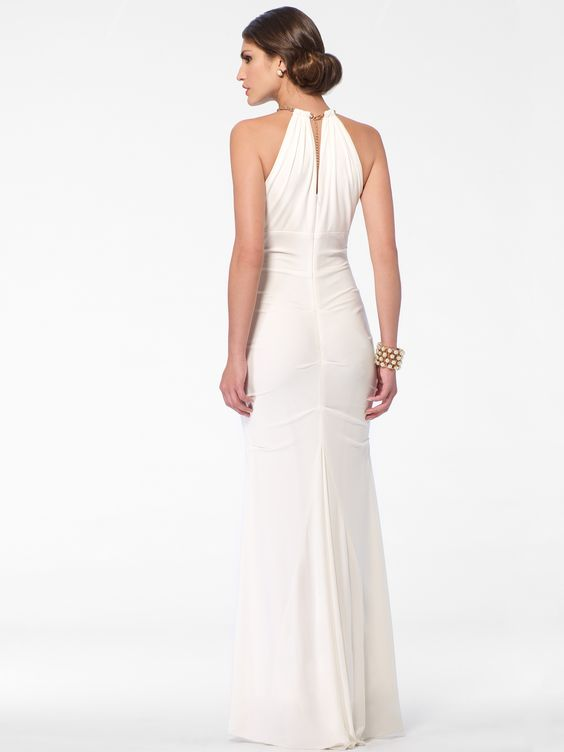 EVENING DRESSES | Ivory Ruched Column Gown | Caché
