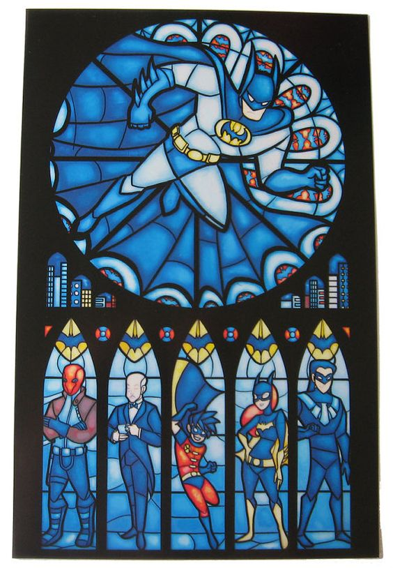 Stained Glass #Batman Print $15 (via NerdApproved.com): Glass Batman, Stained Glass Windows, Batman Stained, Comic Book, Dc Comic, Nerdy Things, Superhero