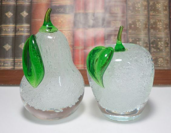 Vintage Murano Pear and Apple Art Glass Paperweights by Uneekitemz