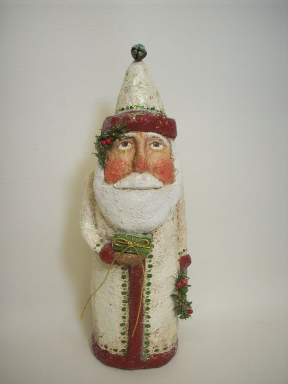 Primitive paper mache folk art santa with wreath and gift for Paper mache christmas