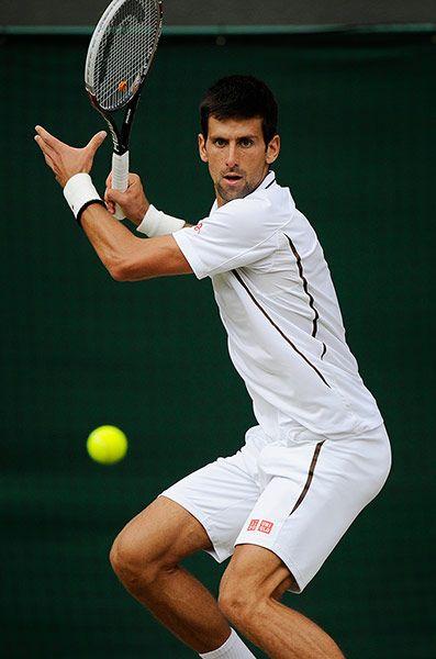 Wimbledon Day Nine: Novak Djokovic forehand
