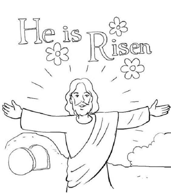 It is an image of Slobbery He Has Risen Coloring Page