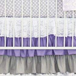 Lavender Sweet Lace Damask Bumperless Crib Bedding