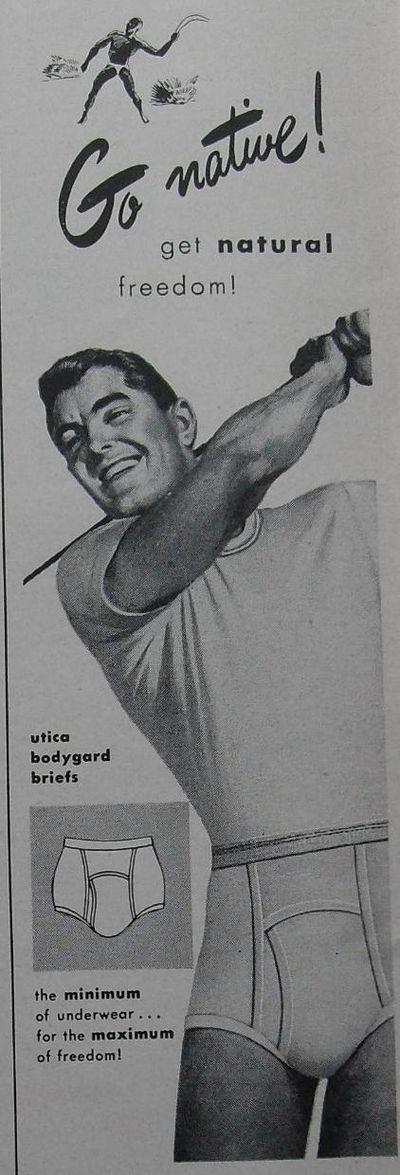 Vintage ads for men's underwear    Vintage advertising for women's underthings is amusing. Vintage ads for men's underwear is downright hysterical.