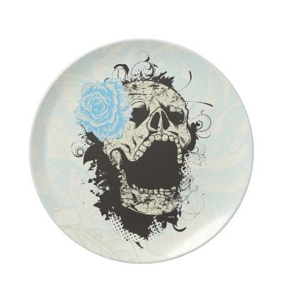 Cool gothic skull and yellow rose custom plate by zazzleproducts1 $26.45