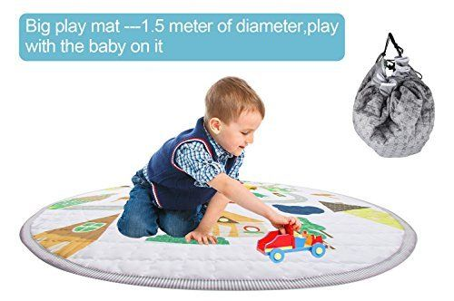 Winthome Baby Kids Play Mat Foldable Toys Storage Organizer Children Play Rugs With 59 Inches Large Diameter Sof Kids Playmat Toy Storage Organization Play Mat