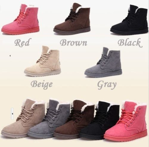 Details about Flat Lace up Fashion Women Winter Ankle Snow Boots