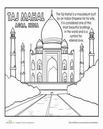 Taj Mahal Coloring Page Coloring India And Asia Taj Mahal Coloring Page
