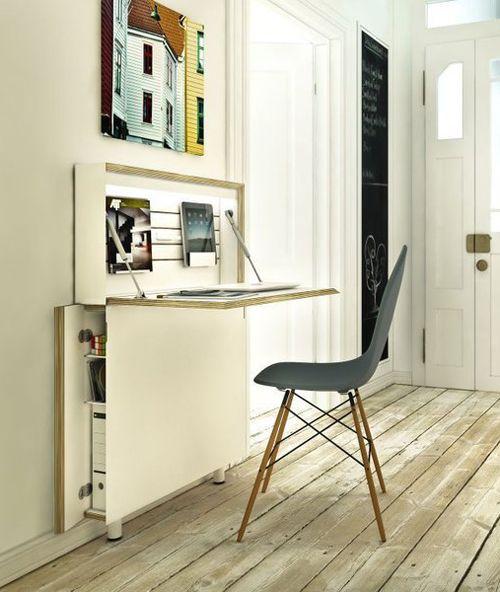 so schmal kann ein arbeitsplatz im flur sein ordner im. Black Bedroom Furniture Sets. Home Design Ideas