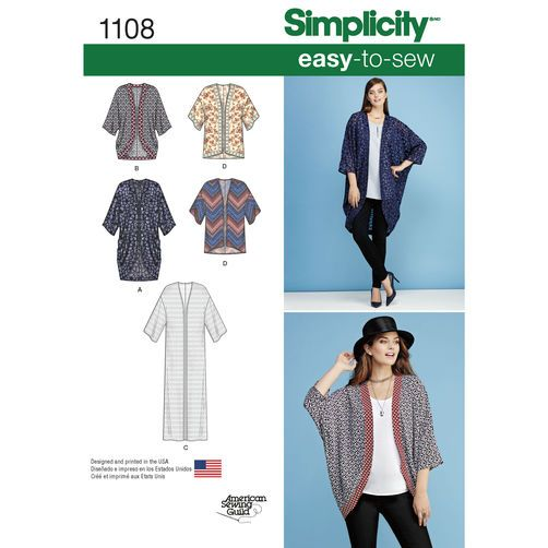 Simplicity Pattern 1108 Misses' Kimonos in Different Styles: