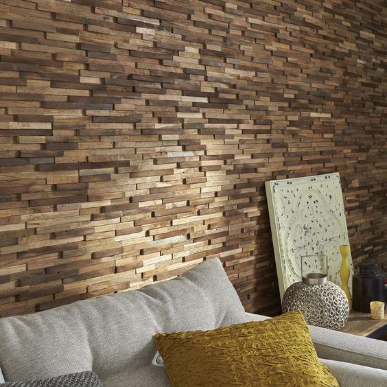 Plaquette de parement bois recycl boho homedecor ideedeco mur mur en p - Transformer un escalier en bois ...