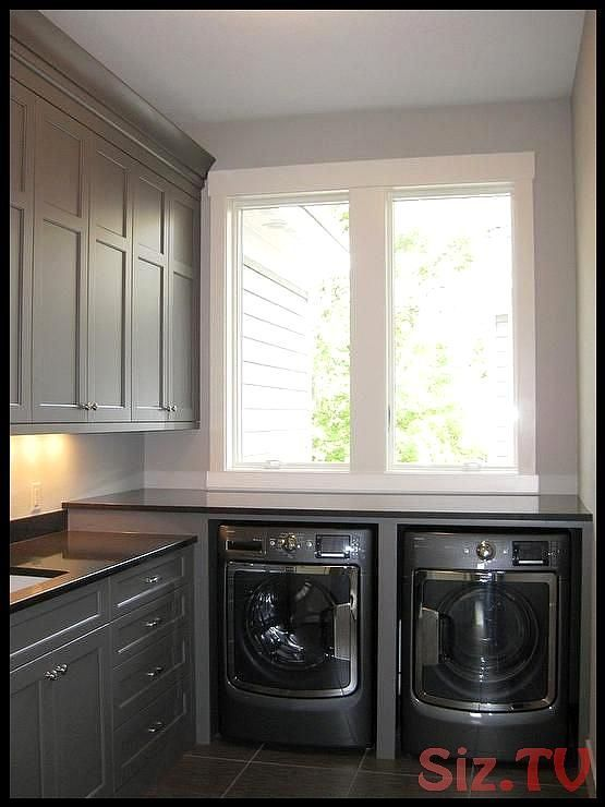 Contemporary Laundry Room Features Gray Cabinets Painted Benjamin