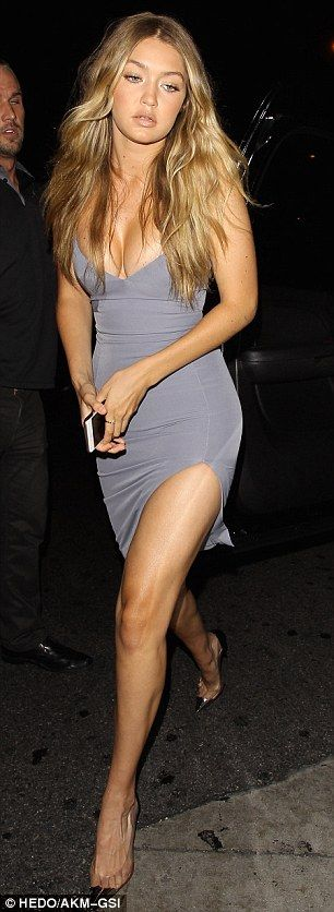 Leggy: The 20-year-old model showed off her incredible figure in the lowcut number which f...