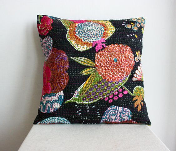 Large 20x20 Handmade Pillow  Black Hand Stitched Black by gypsya, $27.00 ( i have a throw in this fabric with the same hand sewn quilting stitch/lp)