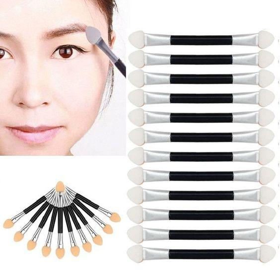 Best Deal 12Pcsset Makeup Double-end Eye Shadow Eyeliner Brush Sponge Applicator Tool for Women Lady Beauty