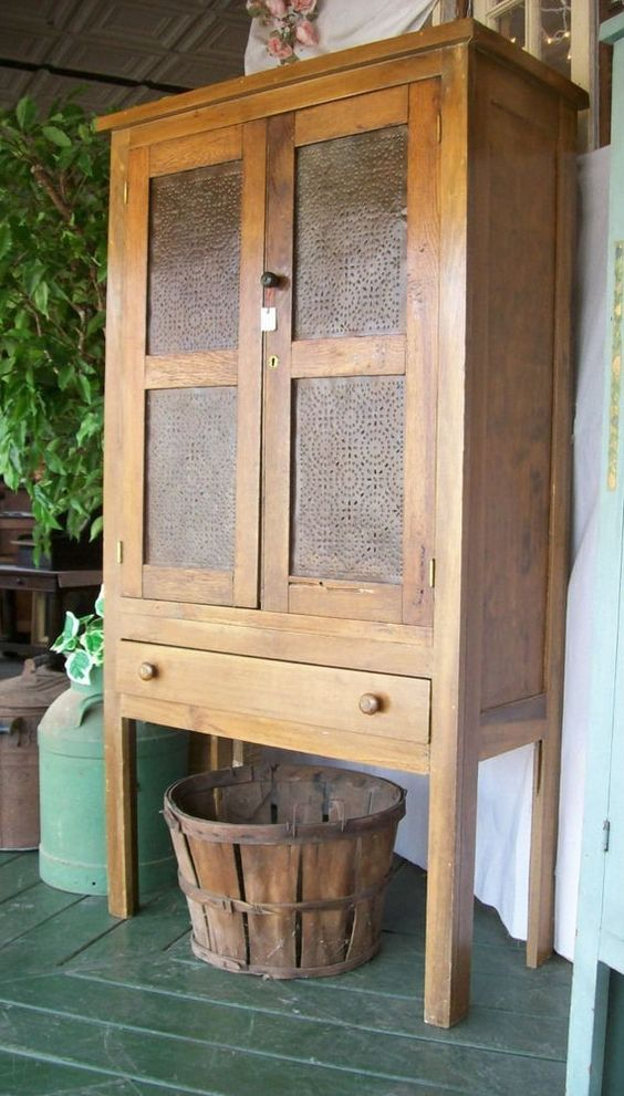 Antique 1860's Primitive Farm Built Punch Tin Pie Safe Jelly Cupboard: