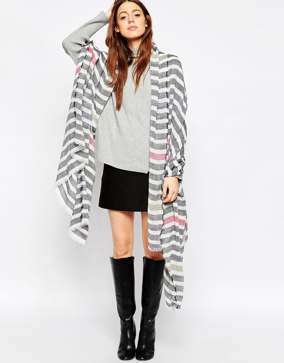 Image 4 of ASOS Lightweight Overized Scarf In Color Pop Stripe