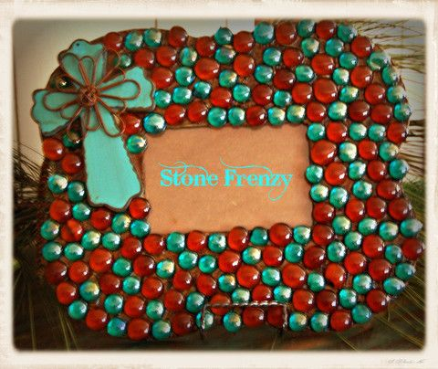 Teal and Brown Picture Frame – www.stonefrenzy.com