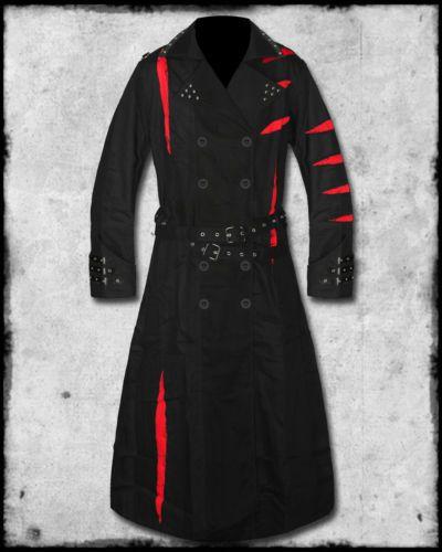 SDL SLASH &amp BURN MENS BLACK RED LONG GOTHIC CYBER PUNK TRENCH COAT