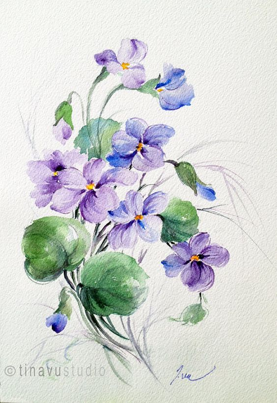 Wild Violet flowers. Violet painting. February by TinaVuStudio