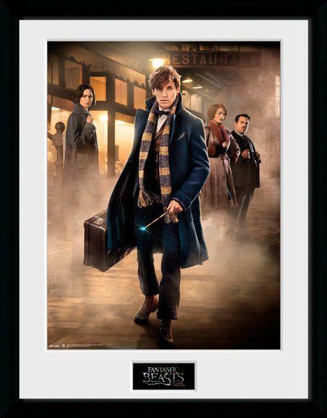Póster enmarcado Protagonistas, Animales fantásticos y dónde encontrarlos, 45 x 34 cm  Póster enmarcado con la imagen de los protagonistas del film Animales fantásticos y dónde encontrarlos, dentro del universo Harry Potter.