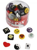 Add a little personality to you racquet with one of the fun vibration dampeners in the Wilson Bowl O' Fun. Shapes include Happy Face, Dice, Scull and Bones, Ying And Yang, Ace Of Spades, Love Heart, Nuclear and Peace Symbol.    Was $150.00  NOW $90.00