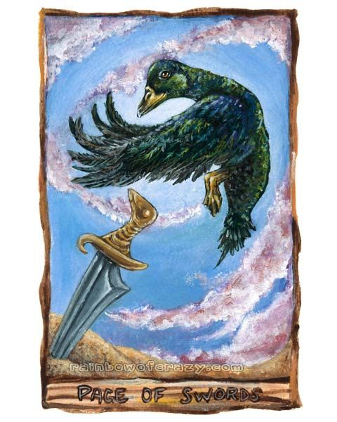Green Duck Print, Sword Art, Page Of Swords Tarot Card