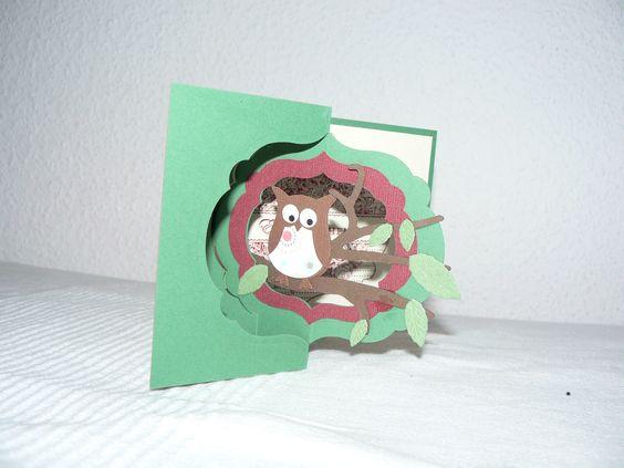 Flip Karte mit Stampin up Eulenstanze und Framelits