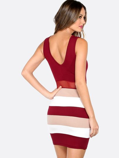 Shop Color Block Bodycon Dress BURGUNDY online. SheIn offers Color Block Bodycon Dress BURGUNDY & more to fit your fashionable needs.