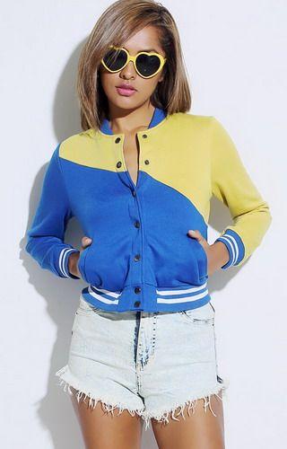 Royal Blue/Yellow Sporty Bomber Jacket | Women&39s Coats &amp Jackets