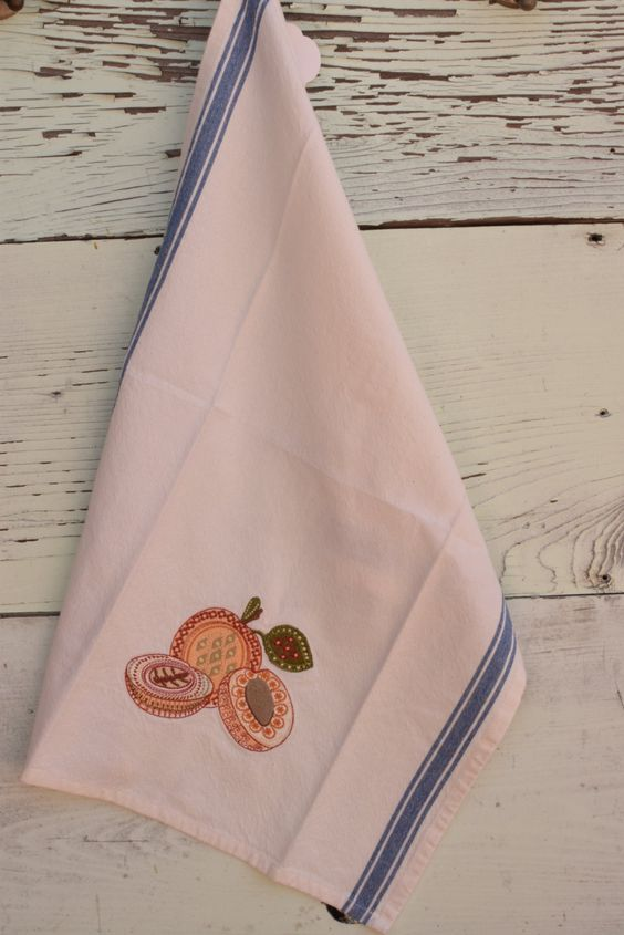 Retro Apricot tea towel, embroidered with intricate apricot design, with convenient loop for hanging, blue stripes both sides by NestingInstinctShop on Etsy
