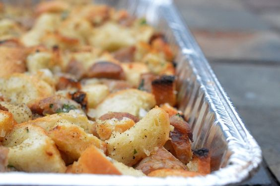 Grilled Sausage Stuffing. Save room in your oven and grill your stuffing instead. Delicious and smokey!