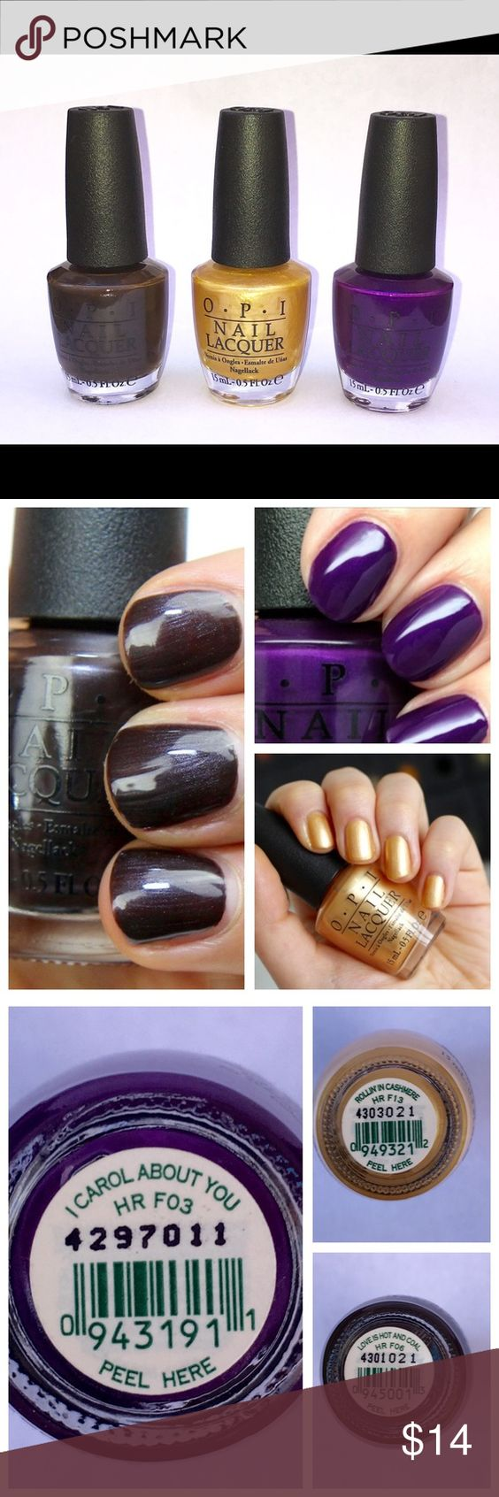 """OPI Set of Three Polishes OPI Set of Three Polishes from the Gwen Stefani Holiday Collection for OPI.  """" I Carol About You"""", """"Rollin' in Cashmere"""", and """"Love is Hot and Coal"""". NWOT. O.P.I Makeup"""