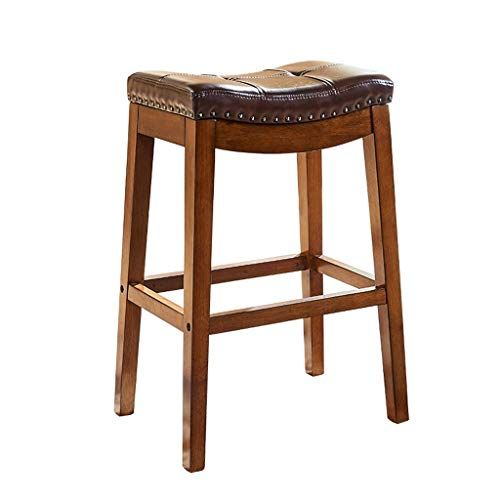 Cylq Backless Counter Barstools 1 Set Of 2 Heavy Duty Saddle Seat Wooden Leather Bar Chair Kitchen Breakfast Retro Retro Bench Home Bar Furniture Bar Chairs