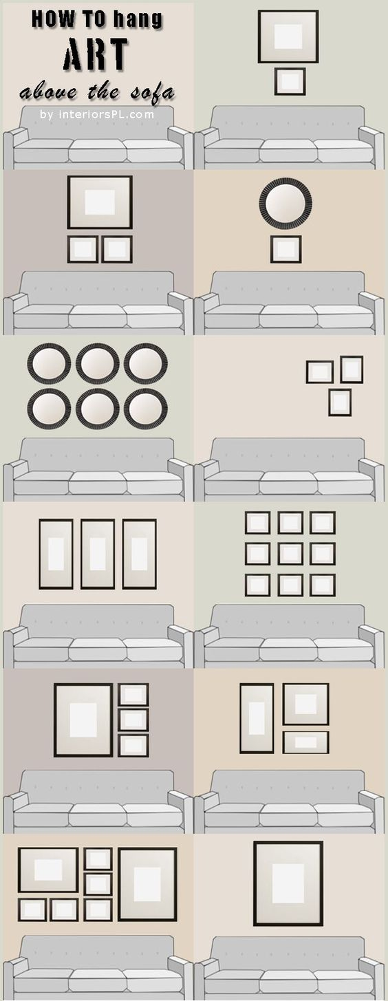 how to hang art above the sofa; arranging pictures                                                                                                                                                     More